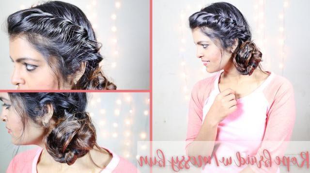 Diy Hairstyles | Braided Hairstyles | Rope Braid Messy Bun Regarding Most Recent Messy Rope Braid Updo Hairstyles (View 23 of 25)