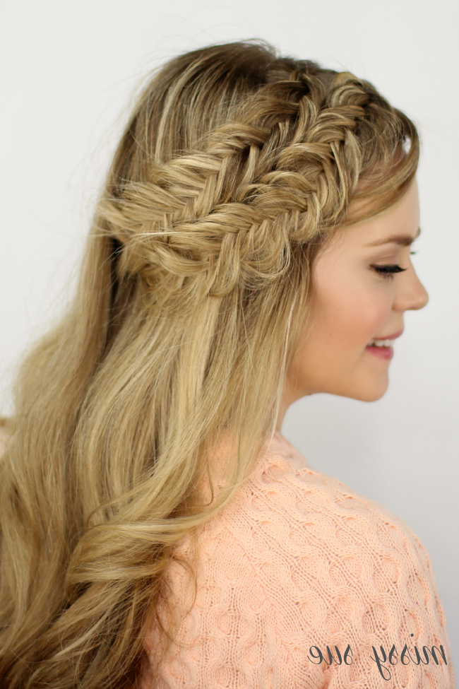 Double Fishtail Headband Braids Regarding Recent Double Headband Braided Hairstyles With Flowers (View 13 of 25)