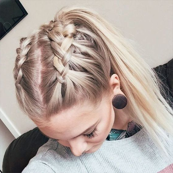 Double French Crown Braids For Long Hair With High Ponytail inside Most Recently Double-Crown Updo Braided Hairstyles