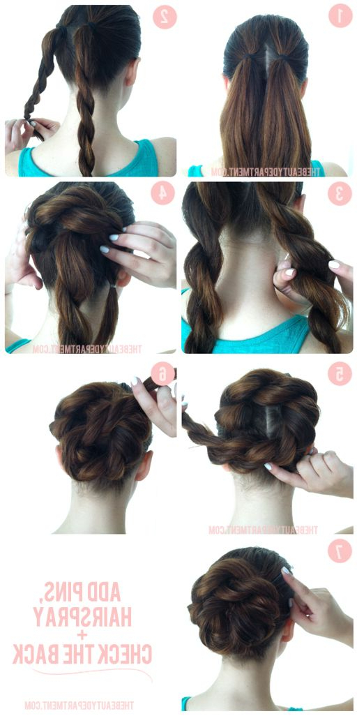 Double Rope Braid Bun | Hair Styles And Make Up | Hair inside Most Current Double Rapunzel Side Rope Braid Hairstyles