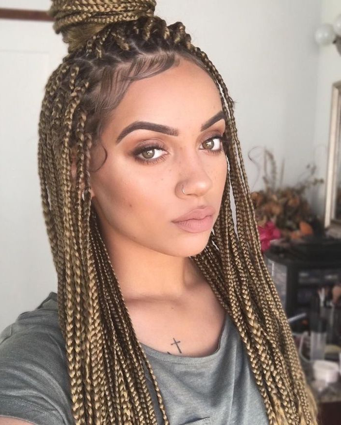 ? 1001+ Ideas For Beautiful Ghana Braids For Summer 2019 Throughout 2018 Light Brown Braid Hairstyles (View 5 of 25)