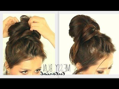 ? Crown Braid Big Messy Bun Tutorial | Cute School Intended For Newest Messy Crown Braid Updo Hairstyles (View 24 of 25)