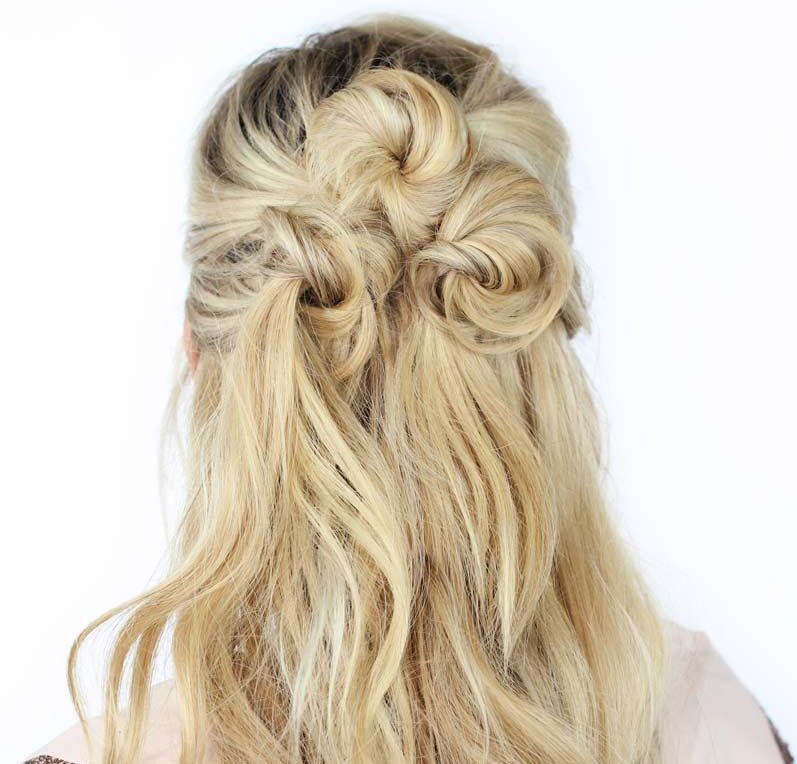 Easy Half Up, Half Down Hairstyles To Rock For Any Occasion Throughout 2018 Pretty Pinned Back Half Updo Braids (View 7 of 25)