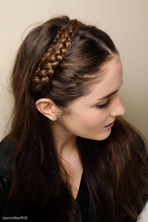 Easy Headband Braid Tutorial For Long Hair Throughout Most Popular Braid Hairstyles With Headband (View 16 of 25)