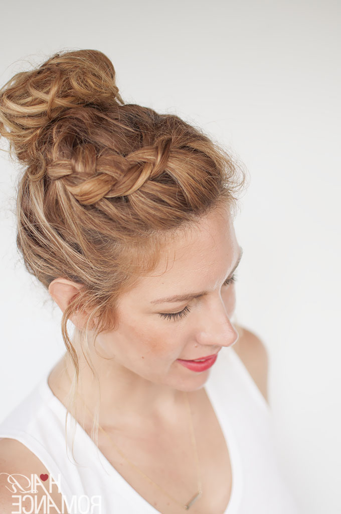 Everyday Curly Hairstyles – Curly Braided Top Knot Hairstyle Pertaining To Latest Braided Topknot Hairstyles With Beads (View 18 of 25)