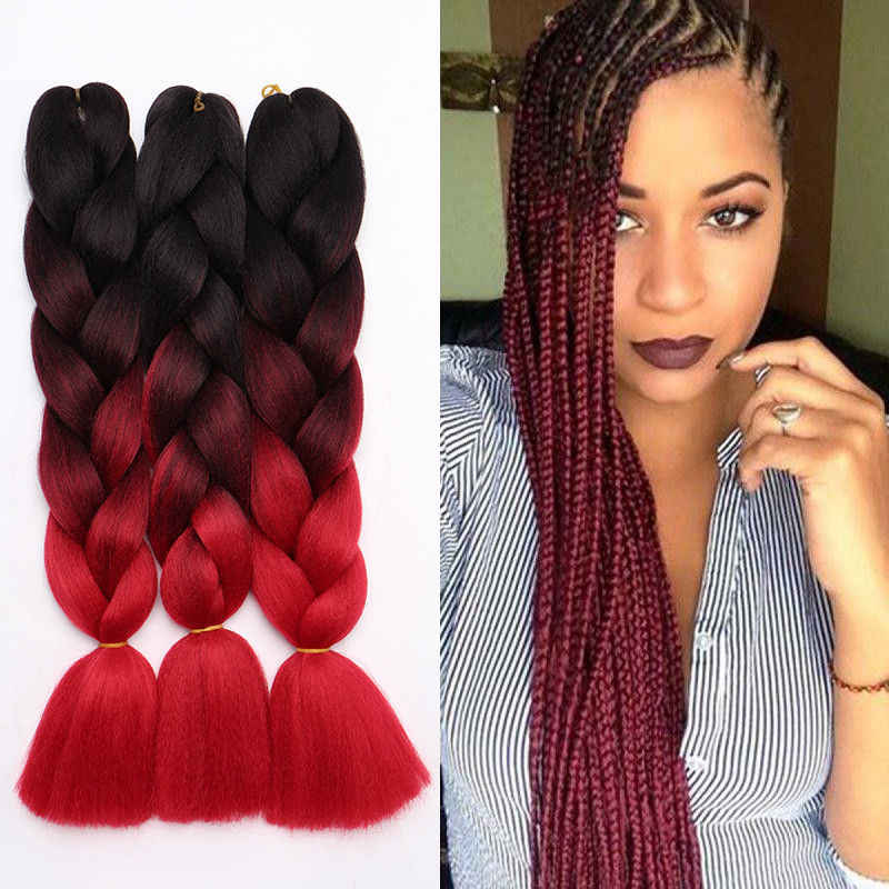 "Fashion 24"" Jumbo Hair Extensions Ombre Braiding Hair Straight Box Braids For Human Girl intended for Best and Newest Straight Mini Braids With Ombre"