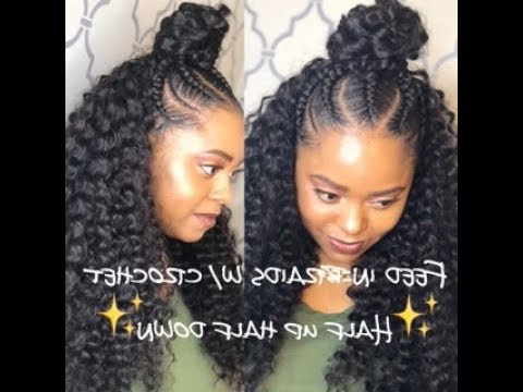 Feed In Braids W/ Crochet – Half Up Half Down Throughout 2018 High Half Up Bun Invisible Braids (View 13 of 25)