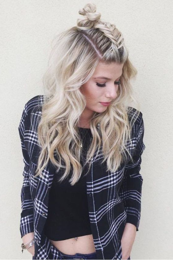 Fishtail Braid Twist On The Popular Topknot Hairstyle regarding Most Recently Topknot Ponytail Braided Hairstyles