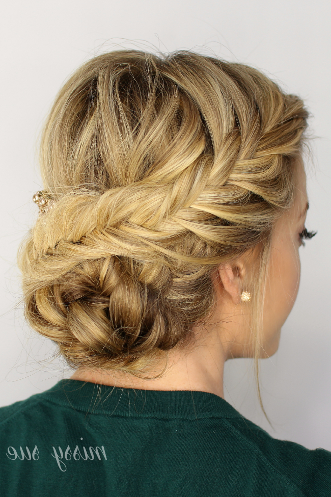 Fishtail Braided Updo inside Latest Messy Curly Mermaid Braid Hairstyles