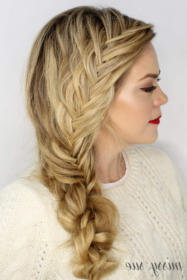 Fishtail French Knotted Side Braid Intended For Most Recent Over The Shoulder Mermaid Braid Hairstyles (View 8 of 25)