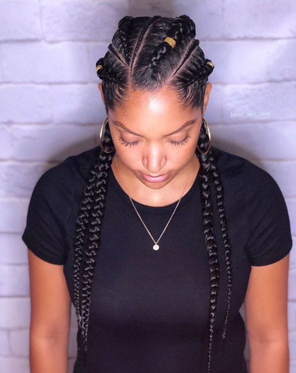 Four Thin Angled Goddess Braids #braidedhairstyles | Braided for Most Up-to-Date Angled Cornrows Hairstyles With Braided Parts