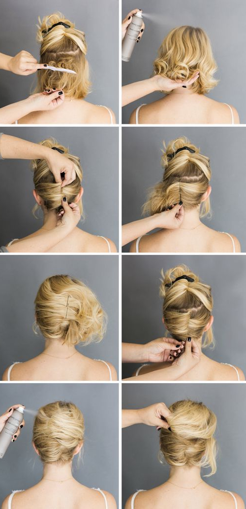 French Roll Short Hair Up Do … | Wedding Hair Ideas | Short… Within Best And Newest Rolled Half Updo Bob Braid Hairstyles (View 22 of 25)