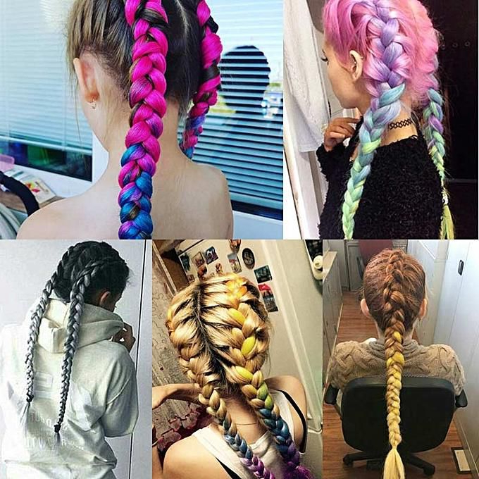 Generic 100G/pack 24Inch Kanekalon Jumbo Braids Hair Ombre Two Tones Colored 15 Colors Synthetic Hair Crochet Braiding Hair Extensions Pertaining To Latest Two Ombre Under Braid Hairstyles (View 5 of 25)