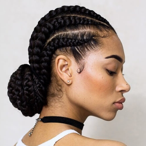Ghana Braids: 50 Ways To Wear This Flattering Protective pertaining to 2018 Pulled Back Beaded Bun Braided Hairstyles