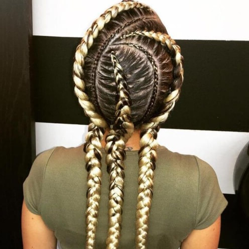 Ghana Braids: 50 Ways To Wear This Flattering Protective with Most Recently Skinny Curvy Cornrow Braided Hairstyles