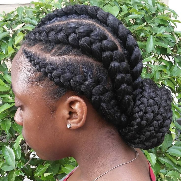 Ghana Braids: History & Pictures Of Ghana Braids Hairstyles Pertaining To Latest Thick Cornrows Bun Hairstyles (View 24 of 25)