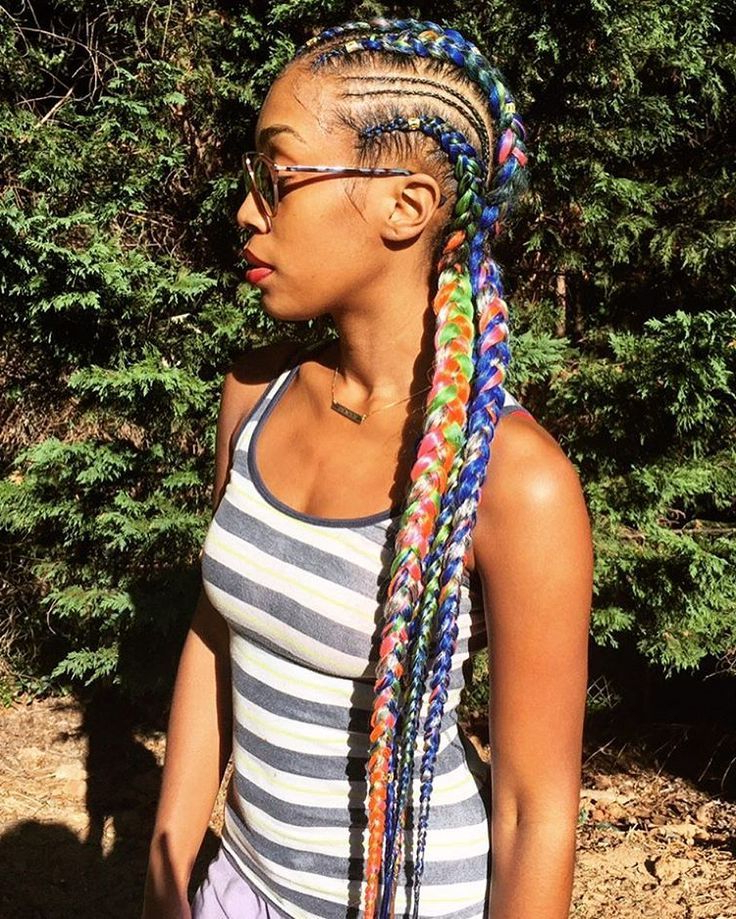 Featured Photo of Multicolored Extension Braid Hairstyles