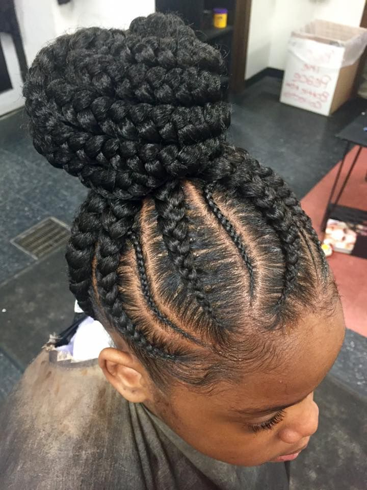 Ghanna #feedins #up Do #bun Styles Skinny Braid In Between Pertaining To 2018 Thin Lemonade Braided Hairstyles In An Updo (View 21 of 25)