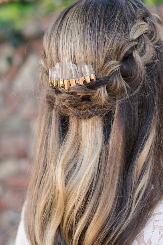 Gold Raw Crystal Hair Comb,quartz Comb,bridesmaid Hair Comb In Newest Mermaid Crown Braid Hairstyles (View 22 of 25)