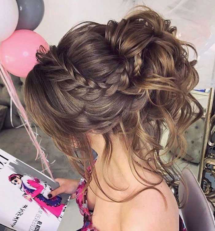 Gorgeous Crown Braided With Messy Updo Hairstyle Inspiration Regarding Newest Messy Crown Braid Updo Hairstyles (View 15 of 25)