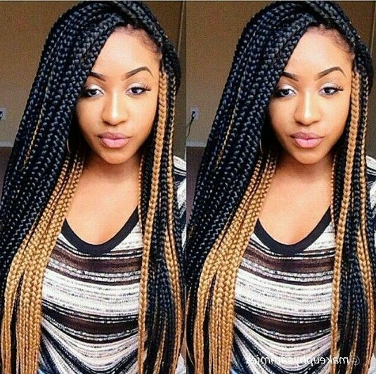 Great Box Gold And Black Braids! #braids #beautiful Intended For 2018 Black Twists Micro Braids With Golden Highlights (View 9 of 25)