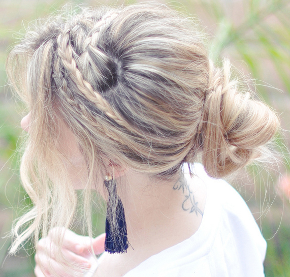 Hair Diy: Messy Rope Braids And Low Bun | The Look | Bun Within Most Current Messy Rope Braid Updo Hairstyles (View 10 of 25)