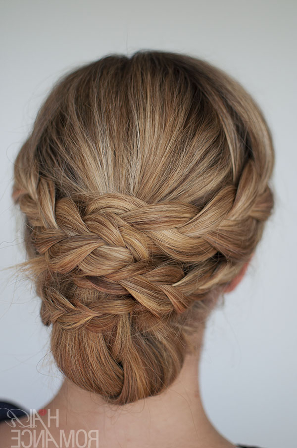 Hairstyle How To: Easy Braided Updo Tutorial – Hair Romance Regarding Newest Brown Woven Updo Braid Hairstyles (View 12 of 25)