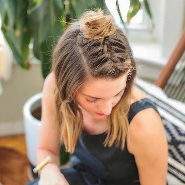 Half Up Braided Top Knot For Medium Length Hair In 2018 Half Up Top Knot Braid Hairstyles (View 22 of 25)