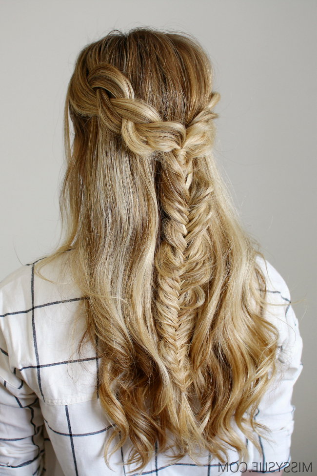 Half Up Braids And Fishtail With Most Up To Date Double Half Up Mermaid Braid Hairstyles (View 20 of 25)