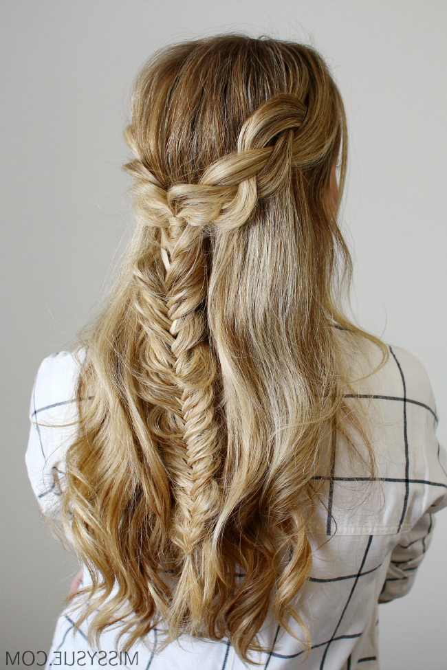 Half Up Braids And Fishtail With Regard To Current Double Half Up Mermaid Braid Hairstyles (View 14 of 25)