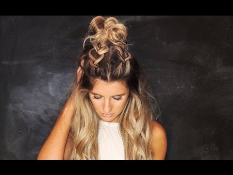Half Up Bun With Two Dutch Braids Tutorial // Top Knot // The Hun // Fun Bun With Regard To Most Up To Date Half Up Top Knot Braid Hairstyles (View 9 of 25)