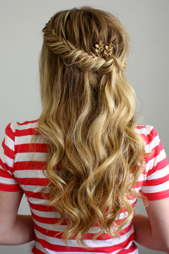 Half Up Fishtail French Braids Within Most Current Double Half Up Mermaid Braid Hairstyles (View 6 of 25)
