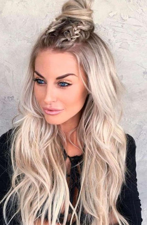 Half Up Half Down With Top Knot Braided Hairstyles 2019 With Regard To Most Current Half Up Top Knot Braid Hairstyles (View 6 of 25)
