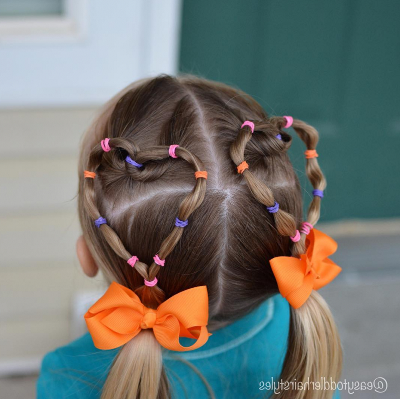 Heart Shaped Hairstyles, Elastic Tutorial For Girls And Toddlers In Recent Heart Shaped Fishtail Under Braid Hairstyles (View 19 of 25)