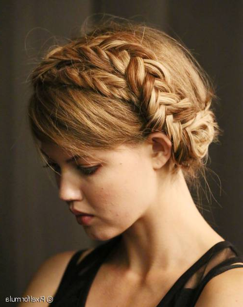 Holiday Hairstyle Inspiration: Romantic Fishtail Milkmaid Braids In Most Recent Wrapping Fishtail Braided Hairstyles (View 16 of 25)