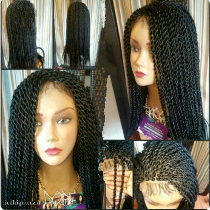 Hotselling Senegalese Twist Braided Lace Front Wigs Synthetic Braiding Hair Lace Wig Long Color 1B /brown/ Burgunday For Black Women Pertaining To Most Up To Date Black And Brown Senegalese Twist Hairstyles (View 12 of 25)
