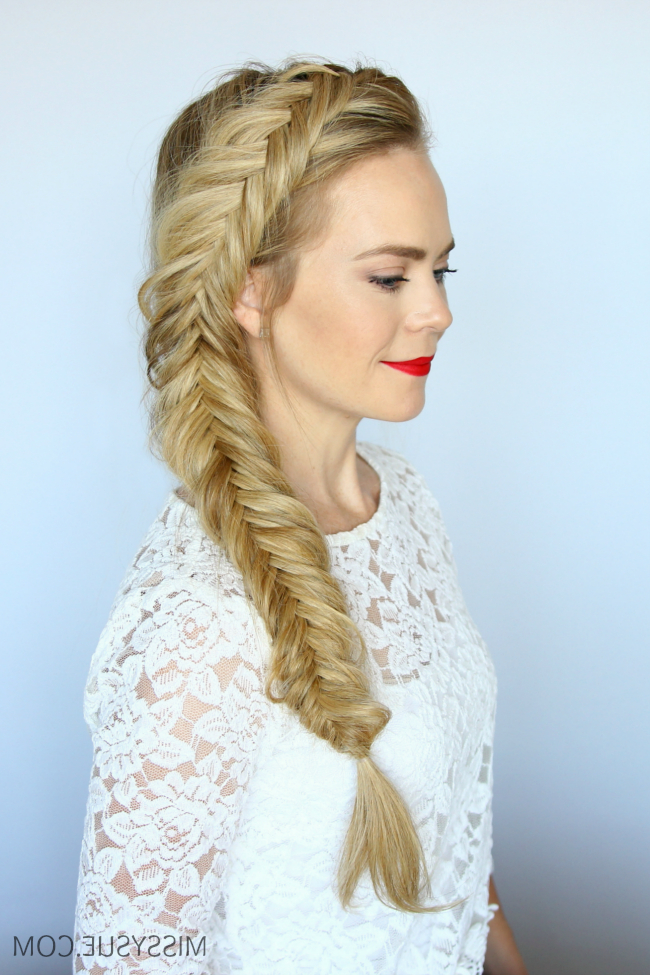 How To Dutch Fishtail Braid | Missy Sue Intended For Current Over The Shoulder Mermaid Braid Hairstyles (View 17 of 25)