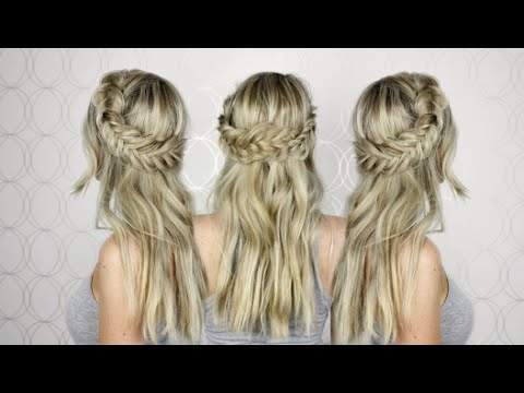 How To: Half Up Half Down Hair Tutorial   Prom, Wedding, Homecoming Regarding Best And Newest Double Half Up Mermaid Braid Hairstyles (View 21 of 25)