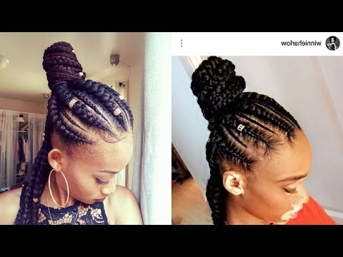 How To Jumbo Braids |Half Up Half Down| Ghana Braids| Feed Intended For Most Recent High Half Up Bun Invisible Braids (View 25 of 25)
