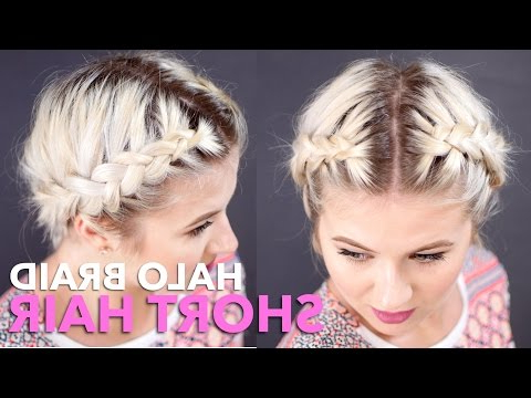 How To Milkmaid Braid Short Hair | Milabu – Youtube Intended For Most Popular Faux Halo Braided Hairstyles For Short Hair (View 5 of 25)