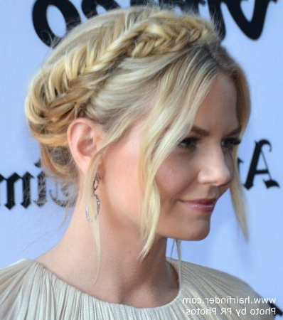 Jennifer Morrison | Medieval Inspired Of The Shoulder Updo with regard to Newest Medieval Crown Braided Hairstyles