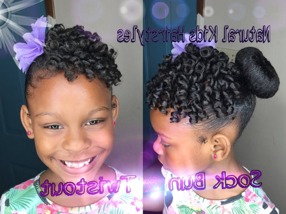 Kids Natural Hairstyle: Sock Bun & Defined Twistout With For Best And Newest Funky Sock Bun Micro Braid Hairstyles (View 9 of 25)
