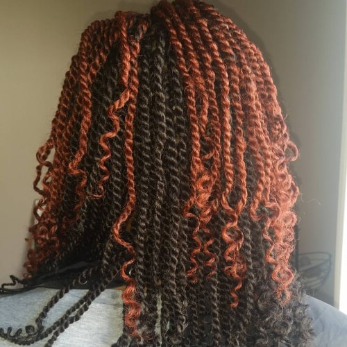 Kinky Twists For African American Women: 50 Outgoing Ideas Inside Most Recently Two Tone Twists Hairstyles With Beads (View 14 of 25)