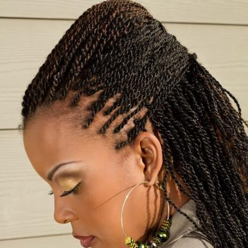 Kinky Twists For African American Women: 50 Outgoing Ideas Inside Recent Crochet Mohawk Twists Micro Braid Hairstyles (View 9 of 25)