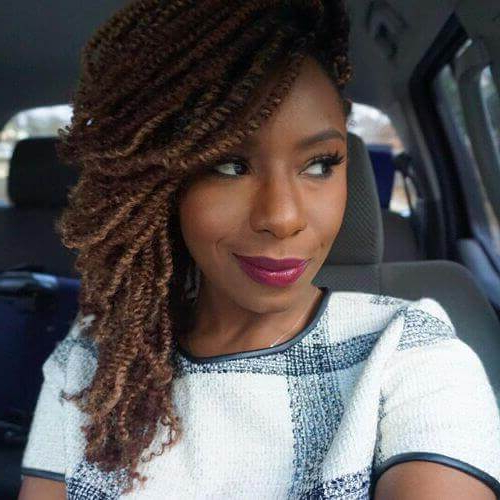 Kinky Twists For African American Women: 50 Outgoing Ideas Regarding Most Recent Side Swept Twists Micro Braids With Beads (View 10 of 25)