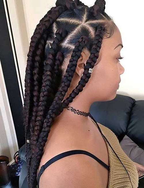 Latest Trending Jumbo Box Braids Hairstyles 2019 With Pictures Throughout Latest Wrap Around Triangular Braided Hairstyles (View 14 of 25)