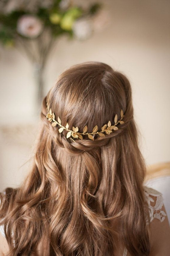 Laurel Leaf Vine Brass Flower Crown Leaf Halo Within Latest Traditional Halo Braided Hairstyles With Flowers (View 25 of 25)