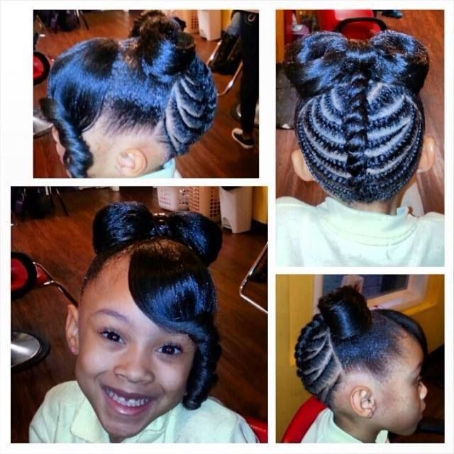 Little Black Girl Hairstyles | 30 Stunning Kids Hairstyles With Regard To Current Minnie Mouse Buns Braid Hairstyles (View 11 of 25)