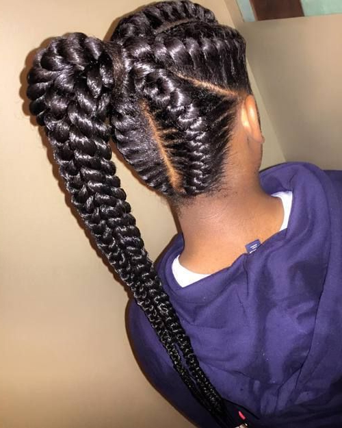 Long Goddess Braids | Hair In 2019 | Braided Ponytail Pertaining To Most Recent Tight Black Swirling Under Braid Hairstyles (View 9 of 25)