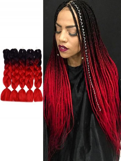 Long Ombre Synthetic Jumbo Braids Hair Extensions Regarding 2018 Multicolored Extension Braid Hairstyles (View 23 of 25)